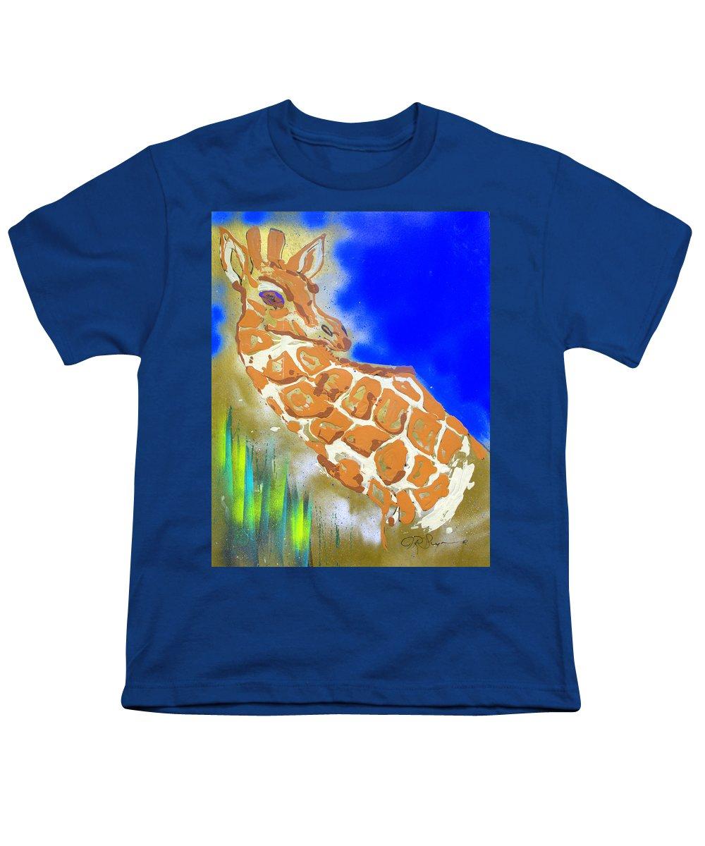 Giraffe Youth T-Shirt featuring the painting Giraffe by J R Seymour