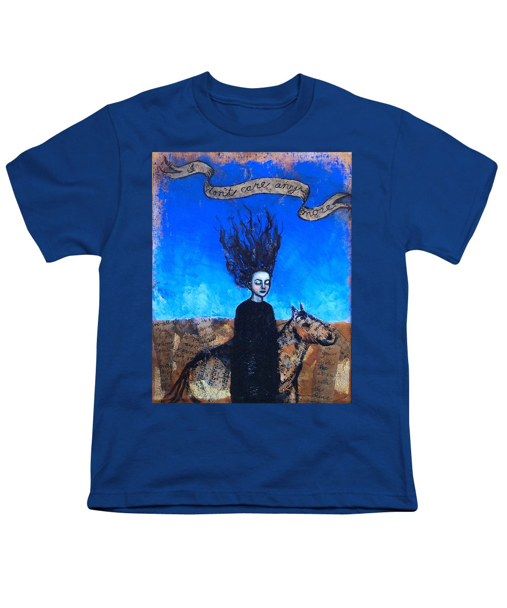 Youth T-Shirt featuring the painting Idontcareanymore by Pauline Lim