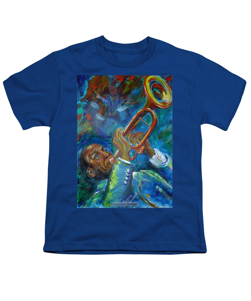 Jazz Youth T-Shirt featuring the painting Jazz Man by Regina Walsh