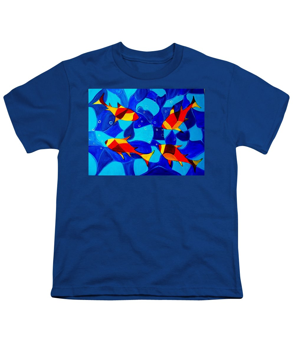 Abstract.acrylic.fish.bubbles.art.painting.modern.contemporary.popblue Red Bubbles Yellow Landscape Youth T-Shirt featuring the painting Joy Fish Abstract by Manjiri Kanvinde