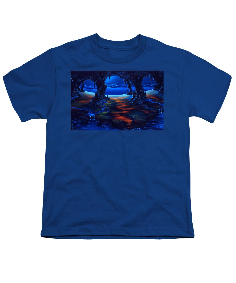 Textured Painting Youth T-Shirt featuring the painting Living Among Shadows by Jennifer McDuffie