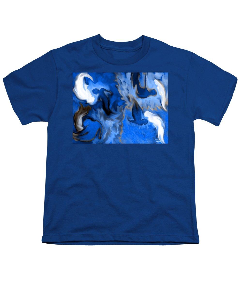 Mermaids Youth T-Shirt featuring the digital art Mermaids by Shelley Jones