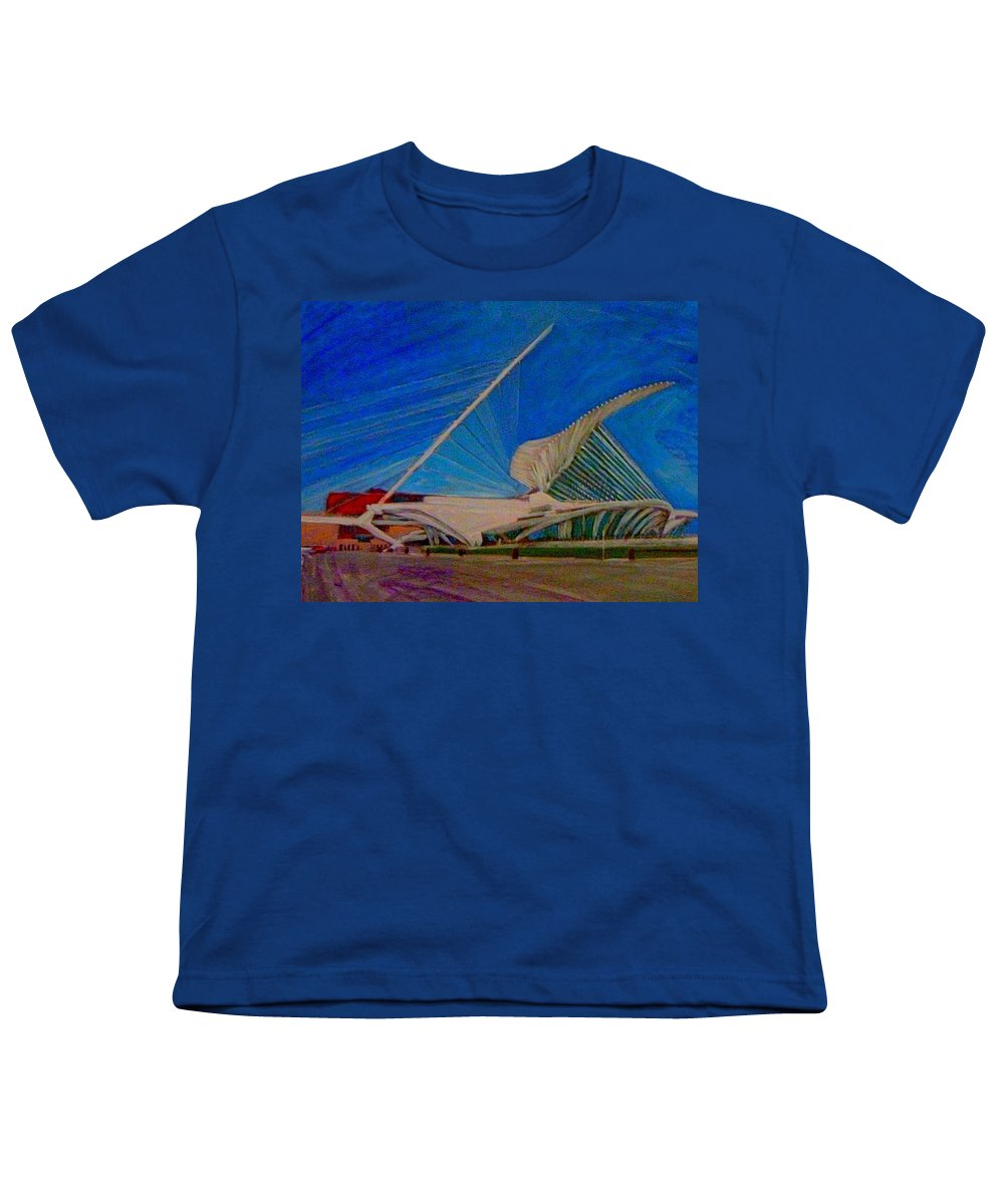 Mam Youth T-Shirt featuring the mixed media Milwaukee Art Museum by Anita Burgermeister