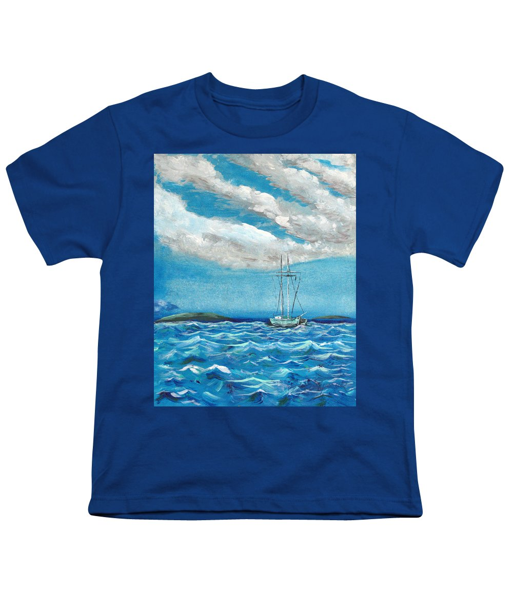 Impressionism Youth T-Shirt featuring the painting Moored In The Bay by J R Seymour