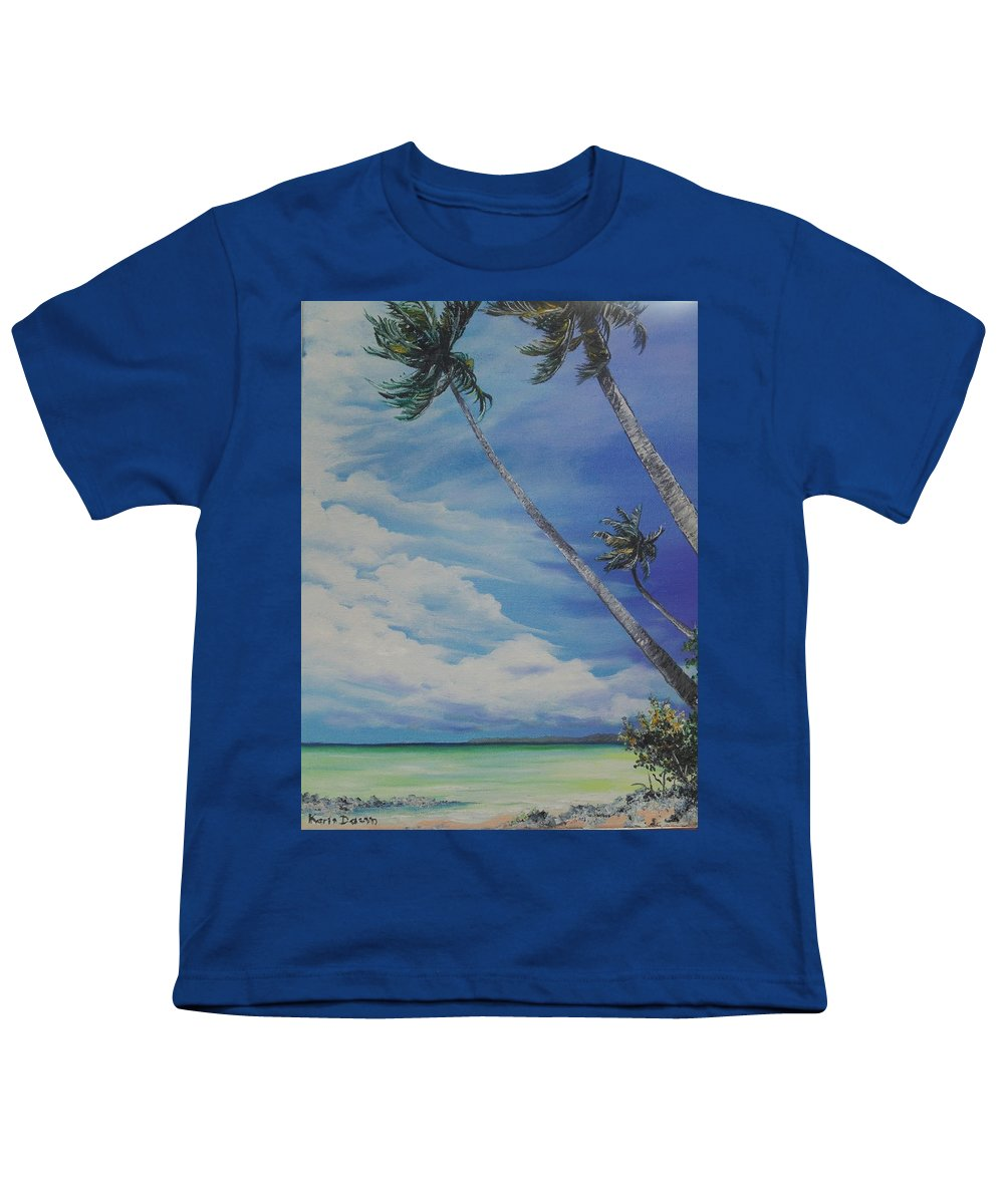 Trinidad And Tobago Seascape Youth T-Shirt featuring the painting Nylon Pool Tobago. by Karin Dawn Kelshall- Best