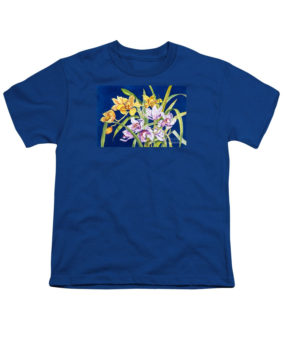 Orchids Youth T-Shirt featuring the painting Orchids In Blue by Lucy Arnold