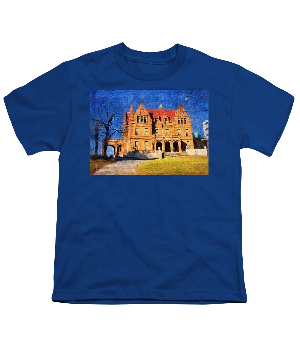 Architecture Youth T-Shirt featuring the digital art Pabst Mansion by Anita Burgermeister