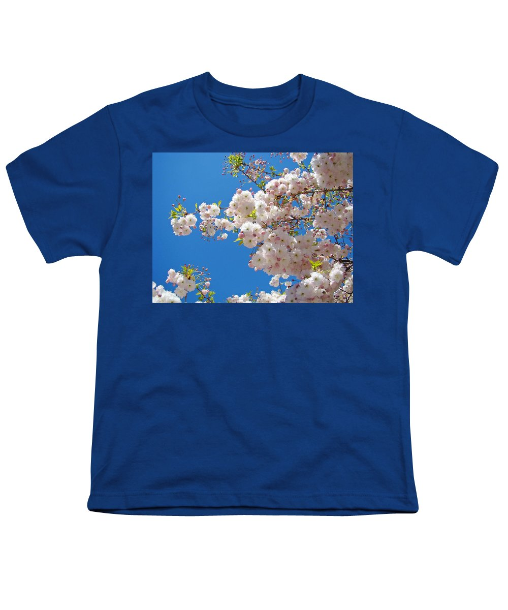 �blossoms Artwork� Youth T-Shirt featuring the photograph Pink Tree Blossoms Art Prints 55 Spring Flowers Blue Sky Landscape by Baslee Troutman