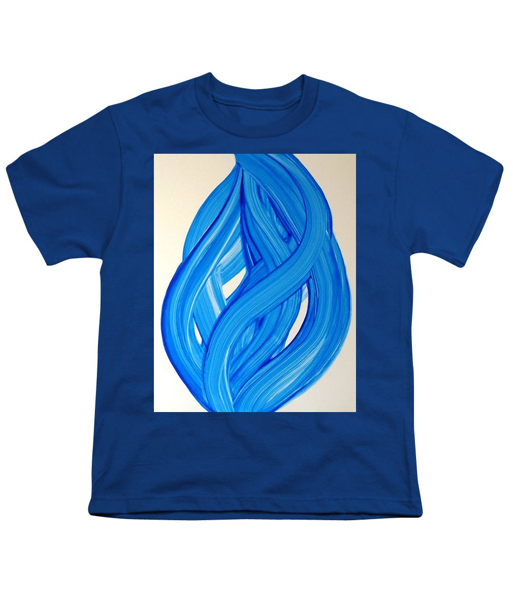 Abstract Modern Contemporary Yupo Art Painting Romantic Pop Blue Youth T-Shirt featuring the painting Ribbons Of Love-blue by Manjiri Kanvinde