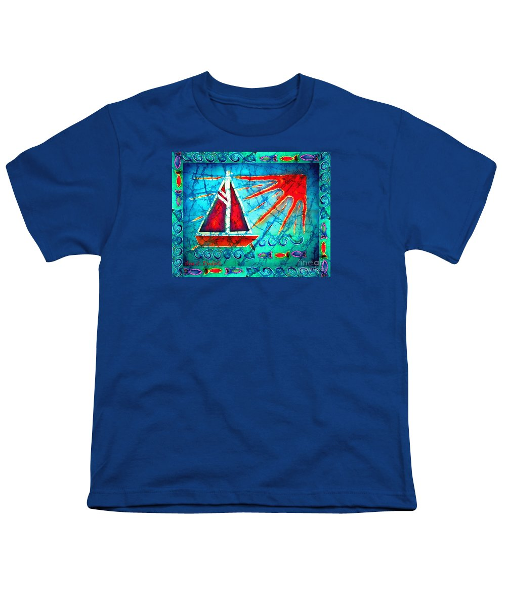Sailboat Youth T-Shirt featuring the painting Sailboat In The Sun by Sue Duda