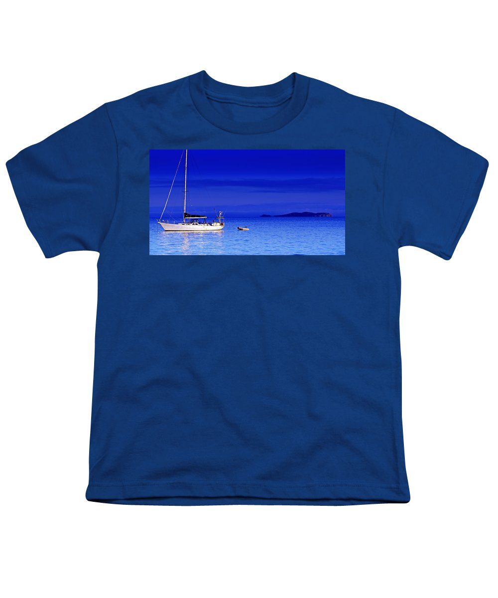 Transportation. Boats Youth T-Shirt featuring the photograph Serene Seas by Holly Kempe