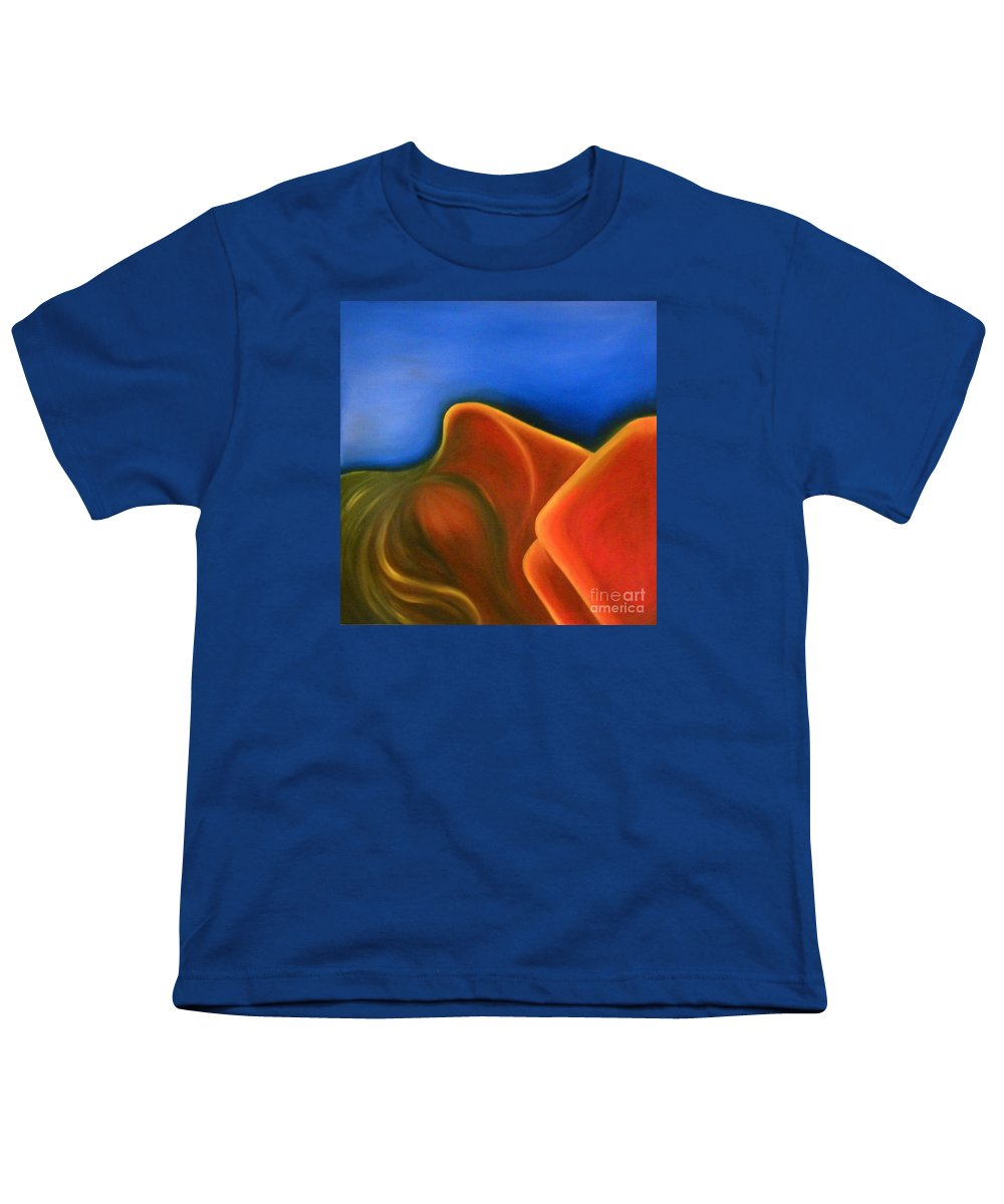 Woman Paintings Youth T-Shirt featuring the painting Sinuous Curves Iv by Fanny Diaz