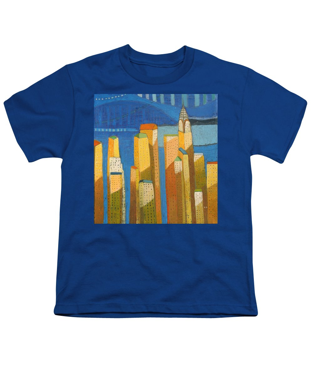 Abstract Cityscape Youth T-Shirt featuring the painting Standing High by Habib Ayat