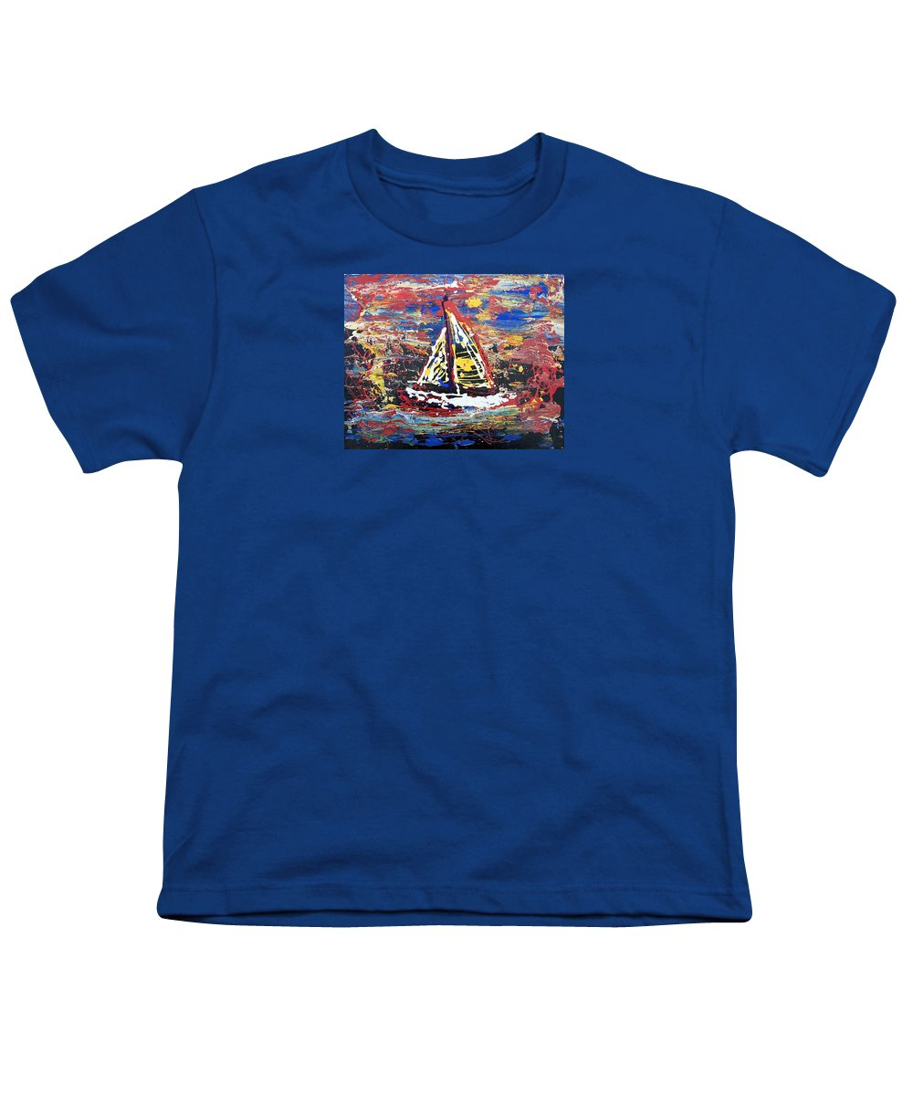 Abstract Art Youth T-Shirt featuring the painting Sunset On The Lake by J R Seymour