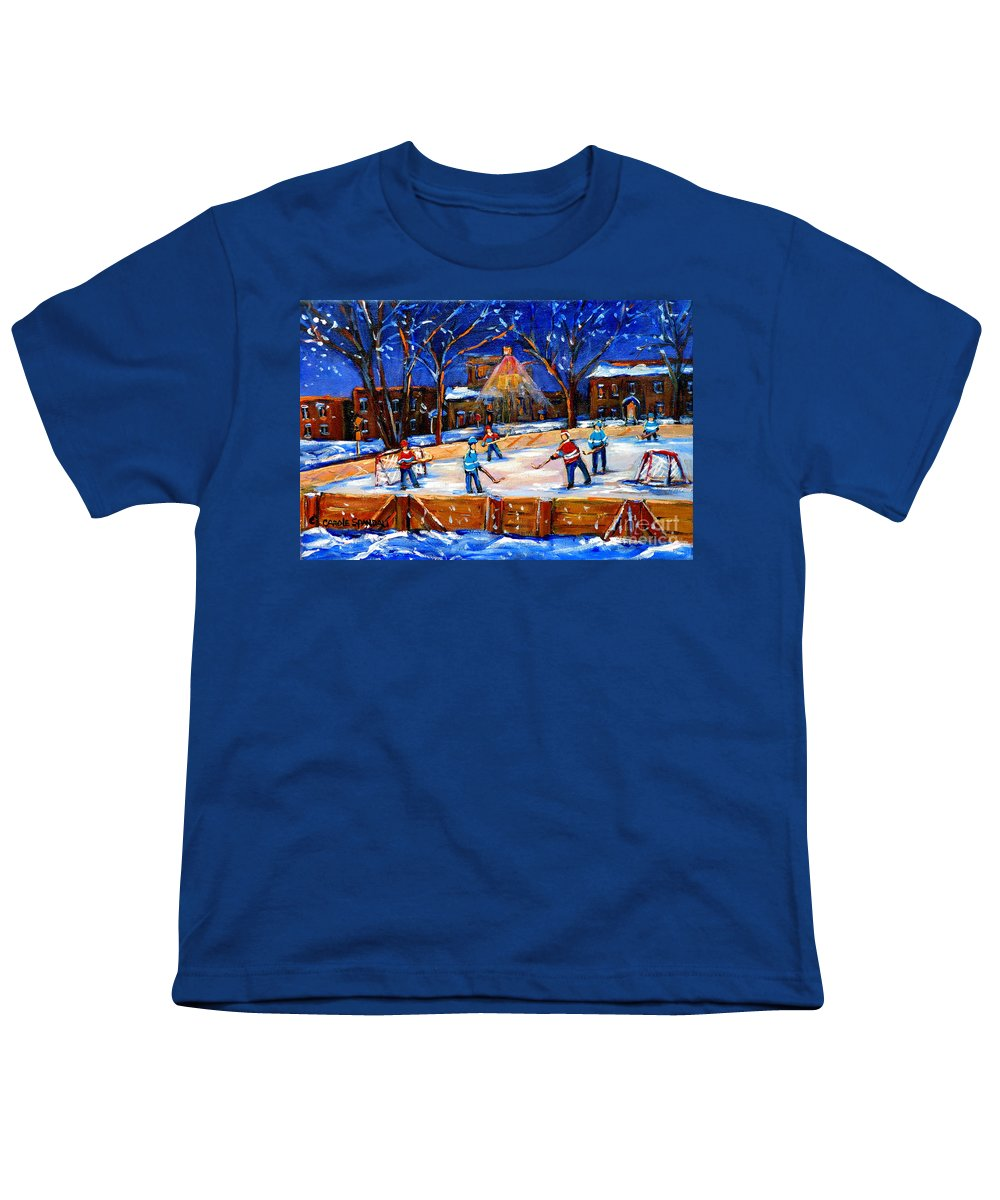 Montreal Youth T-Shirt featuring the painting The Neighborhood Hockey Rink by Carole Spandau