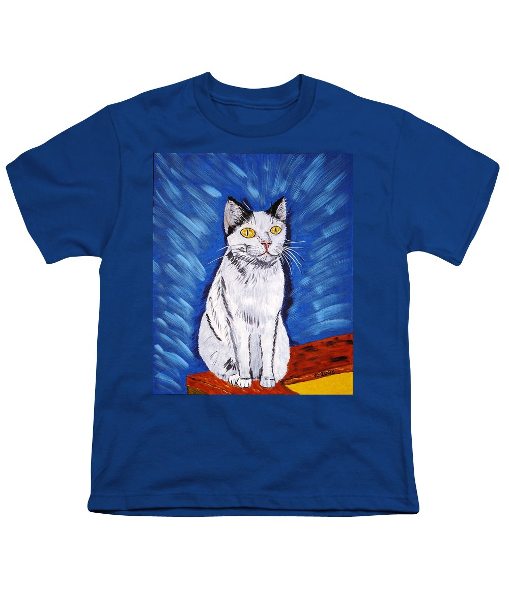 Cat Youth T-Shirt featuring the painting There Is A Bird by Valerie Ornstein