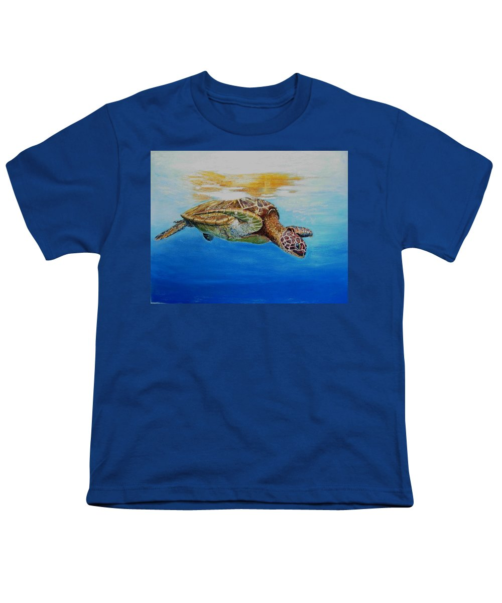 Wildlife Youth T-Shirt featuring the painting Up For Some Rays by Ceci Watson