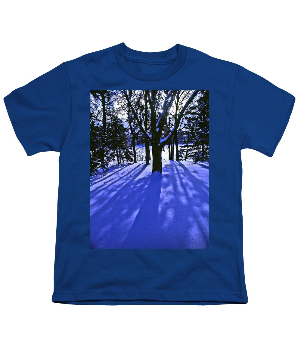 Landscape Youth T-Shirt featuring the photograph Winter Shadows by Tom Reynen