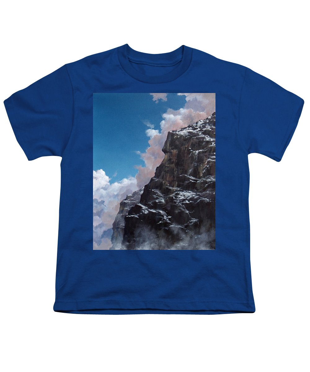 Yosemite Youth T-Shirt featuring the painting Yosemite cliff face by Philip Fleischer