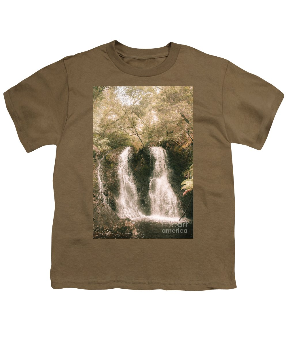 Waterfall Youth T-Shirt featuring the photograph Soft Vintage Forest Waterfall In Tasmania by Jorgo Photography - Wall Art Gallery