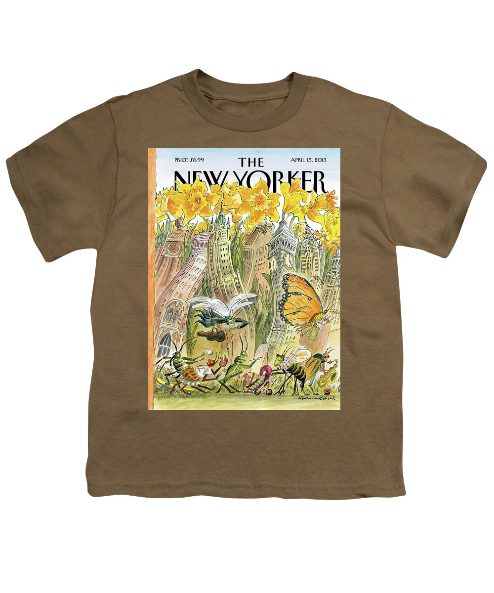 Blossom Youth T-Shirt featuring the painting Blossom Time by Edward Sorel