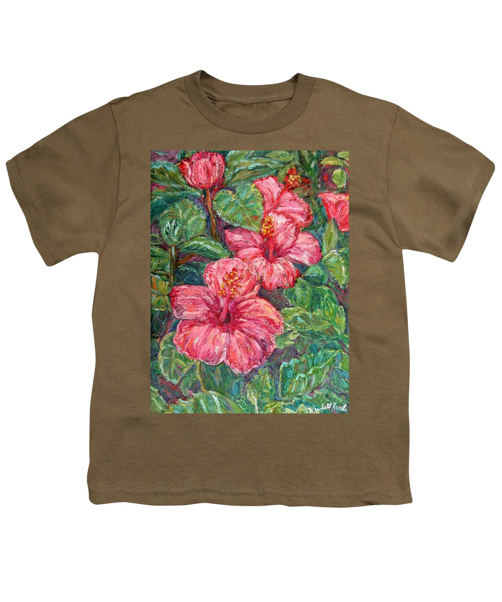 Hibiscus Youth T-Shirt featuring the painting Hibiscus by Kendall Kessler