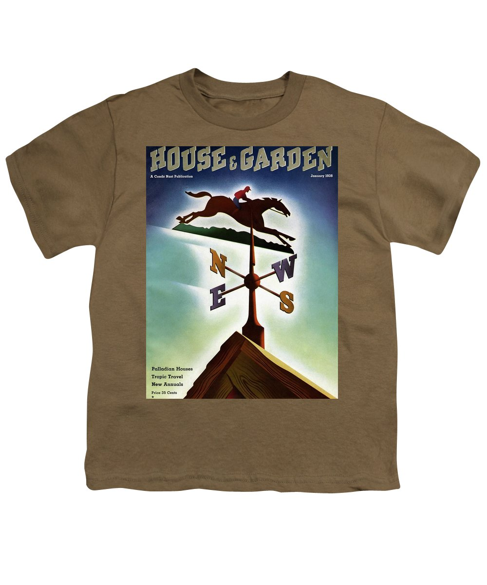 House And Garden Youth T-Shirt featuring the photograph A Weathervane With A Racehorse by Joseph Binder