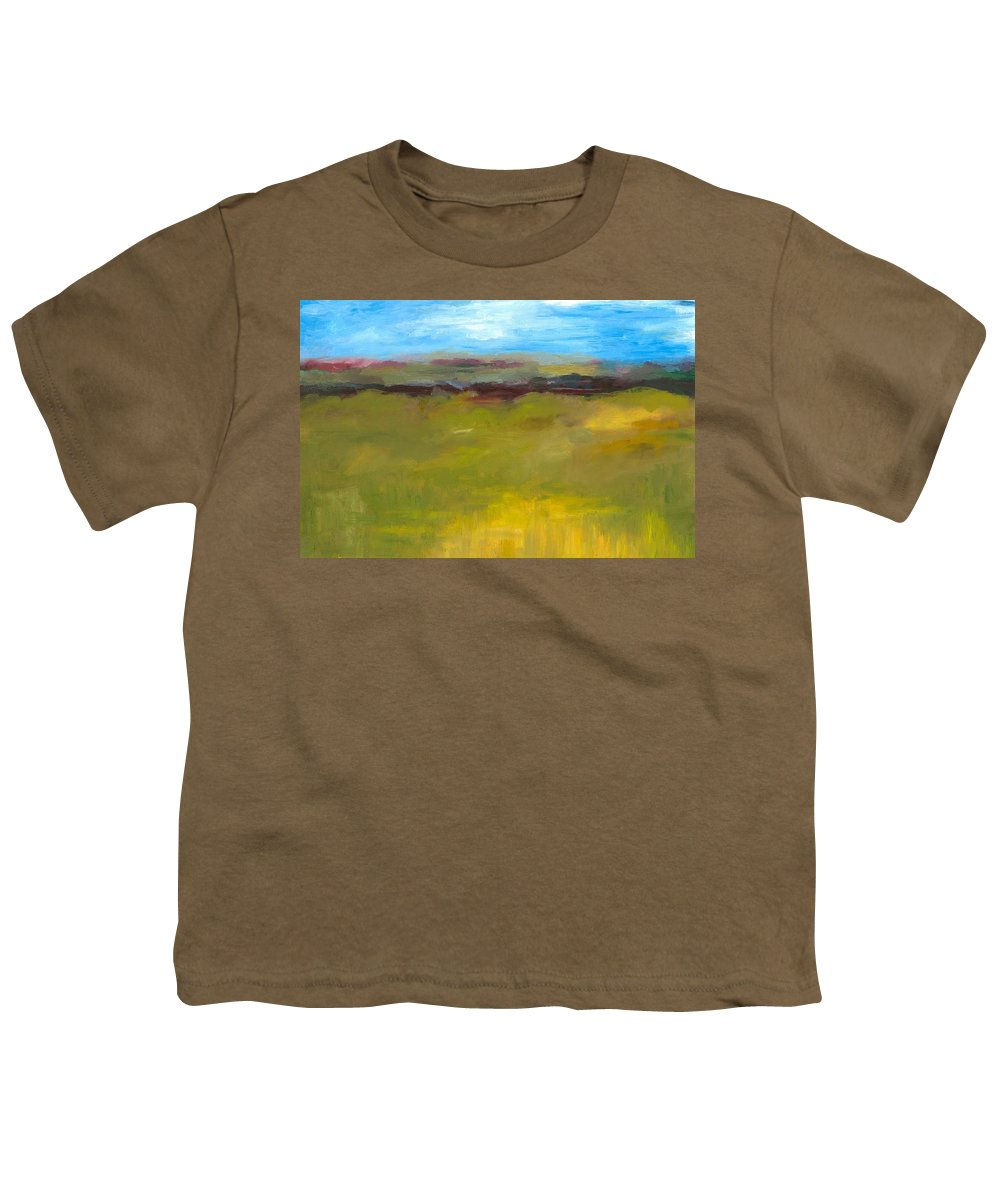 Abstract Expressionism Youth T-Shirt featuring the painting Abstract Landscape - The Highway Series by Michelle Calkins