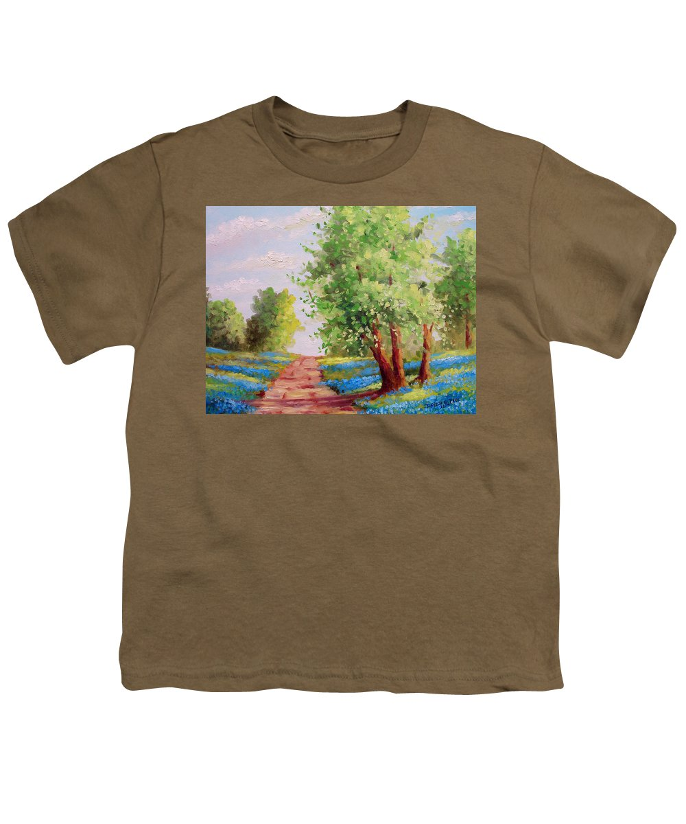 Bluebonnets Youth T-Shirt featuring the painting Backroad Bluebonnets by David G Paul
