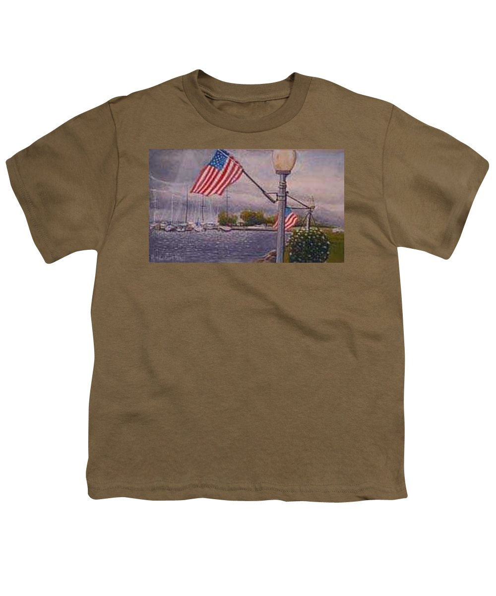 Rick Huotari Youth T-Shirt featuring the painting Bayfield On The 4th by Rick Huotari