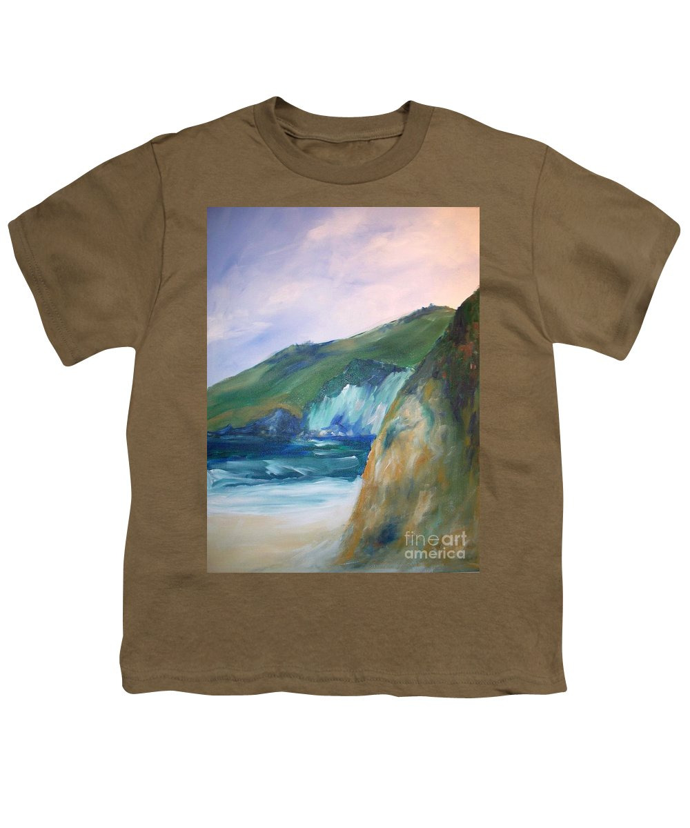 California Coast Youth T-Shirt featuring the painting Beach California by Eric Schiabor