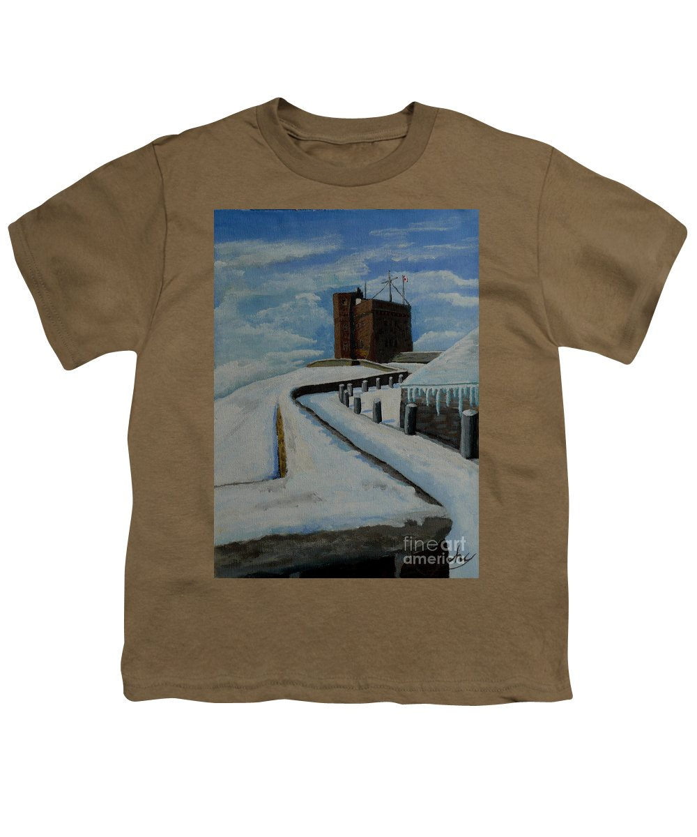 Landscape Youth T-Shirt featuring the painting Cabot Tower Newfoundland by Anthony Dunphy