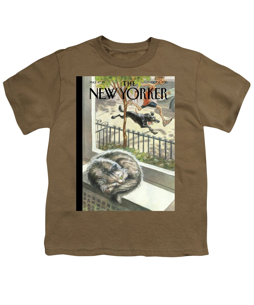 Cat Youth T-Shirt featuring the painting Catnap by Peter de Seve