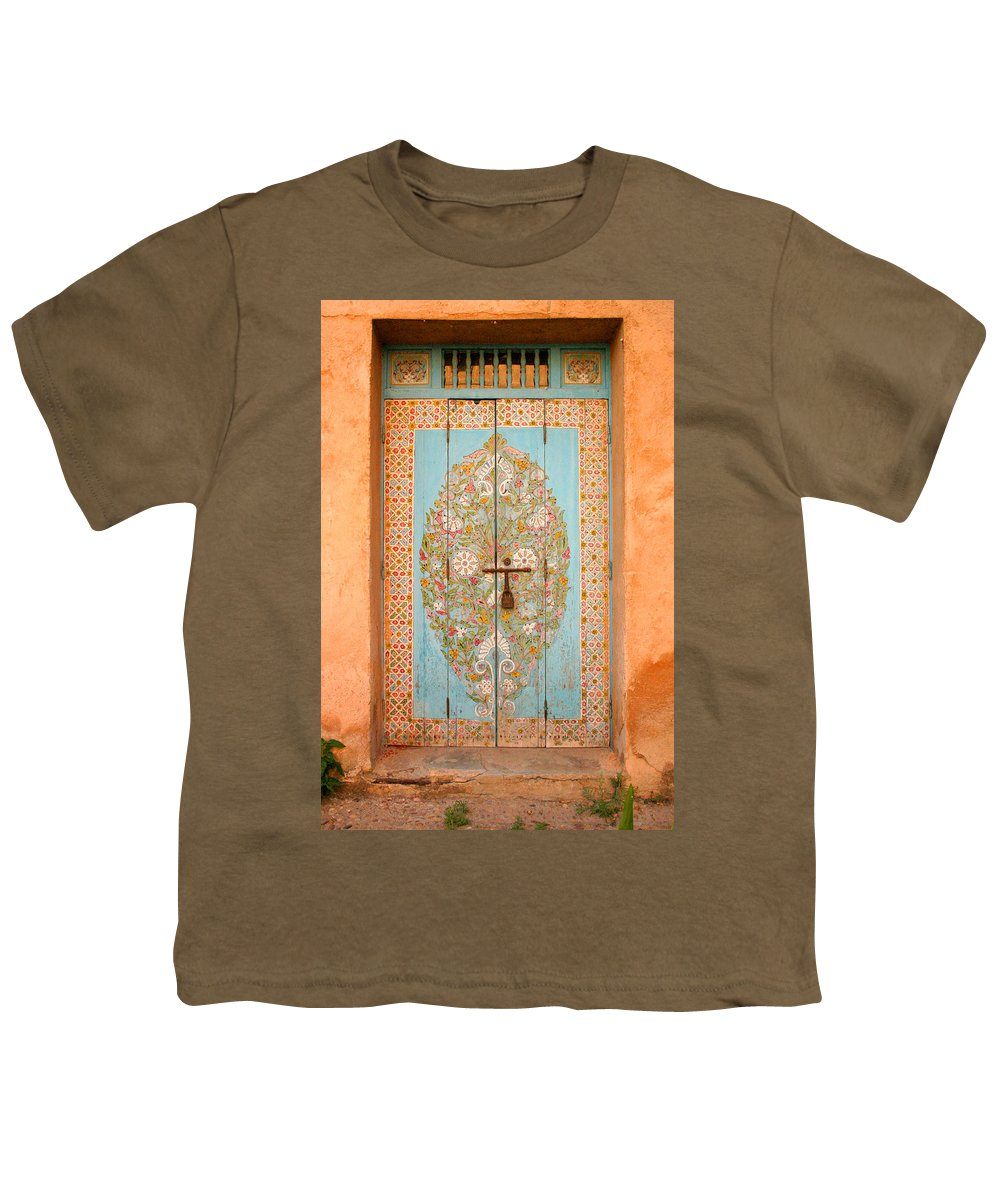 Door Youth T-Shirt featuring the photograph Colourful Moroccan Entrance Door Sale Rabat Morocco by Ralph A Ledergerber-Photography