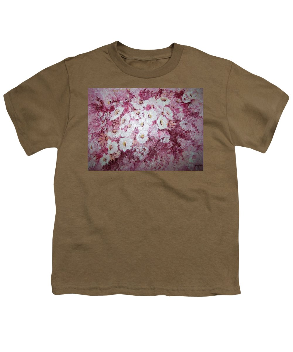 Youth T-Shirt featuring the painting Daisy Blush by Karin Dawn Kelshall- Best