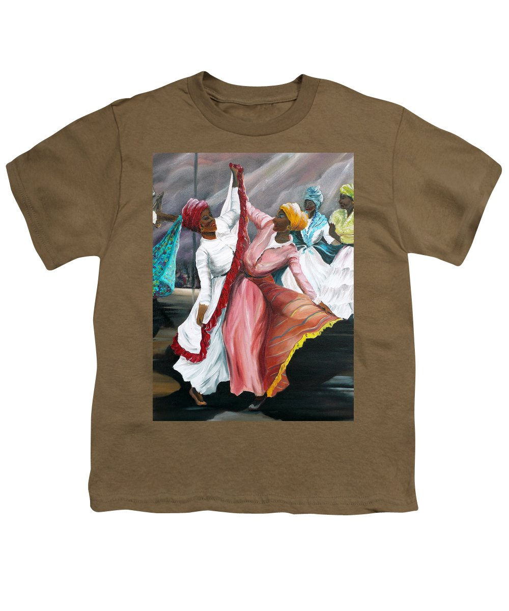 Dancers Folk Caribbean Women Painting Dance Painting Tropical Dance Painting Youth T-Shirt featuring the painting Dance The Pique 2 by Karin Dawn Kelshall- Best