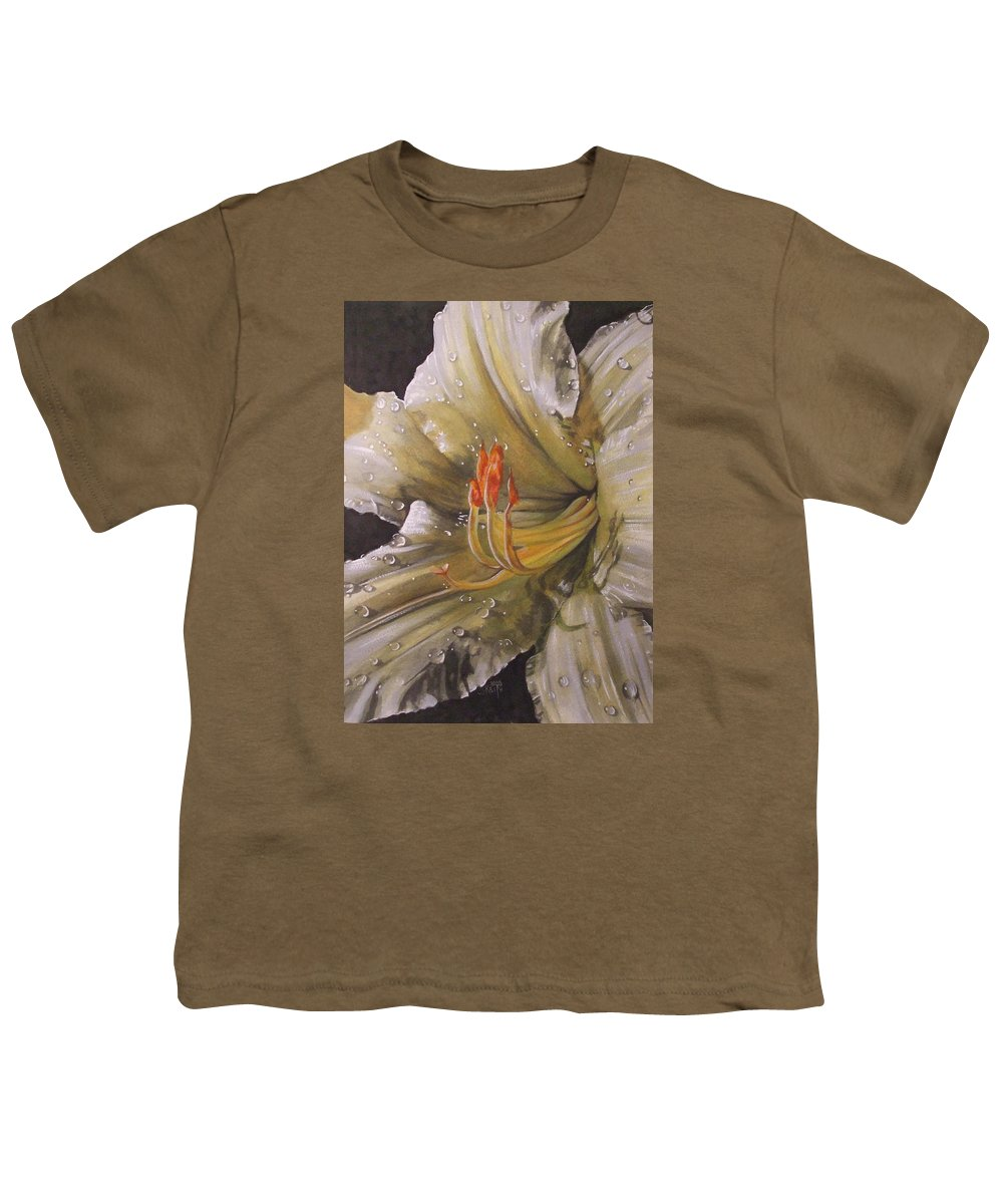 Daylily Youth T-Shirt featuring the painting Diamonds by Barbara Keith
