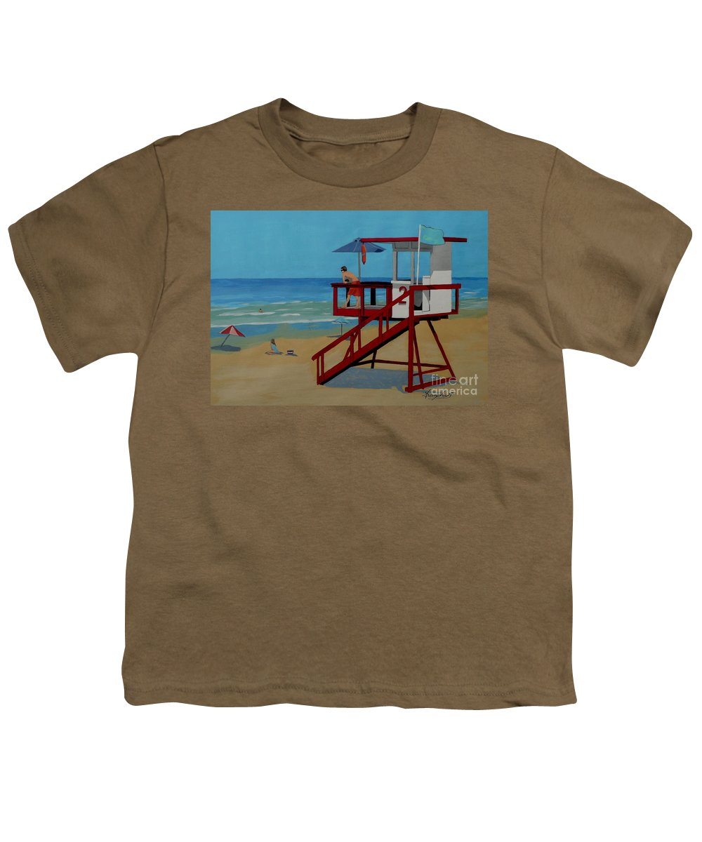 Lifeguard Youth T-Shirt featuring the painting Distracted Lifeguard by Anthony Dunphy