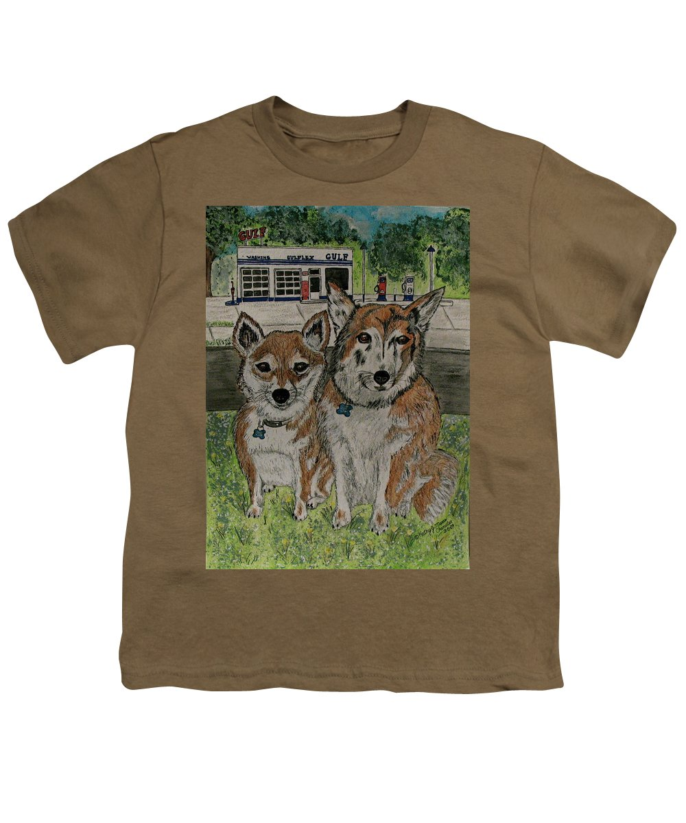 Dogs Youth T-Shirt featuring the painting Dogs In Front Of The Gulf Station by Kathy Marrs Chandler