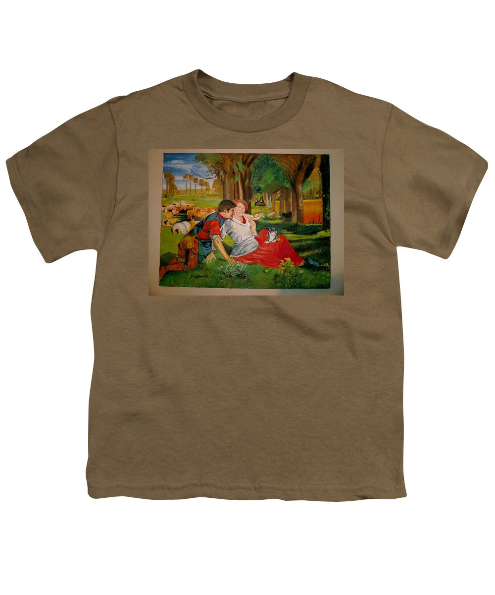 Youth T-Shirt featuring the painting double portrait of freinds Gunner and Jessie by Jude Darrien
