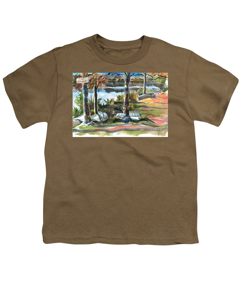 Evening Shadows At Shepherd Mountain Lake No W101 Youth T-Shirt featuring the painting Evening Shadows At Shepherd Mountain Lake No W101 by Kip DeVore