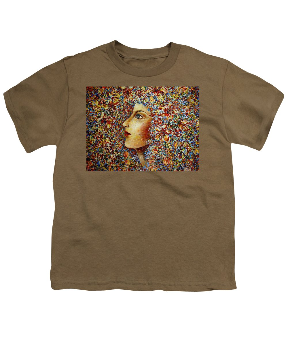 Flower Goddess Youth T-Shirt featuring the painting Flower Goddess. by Natalie Holland
