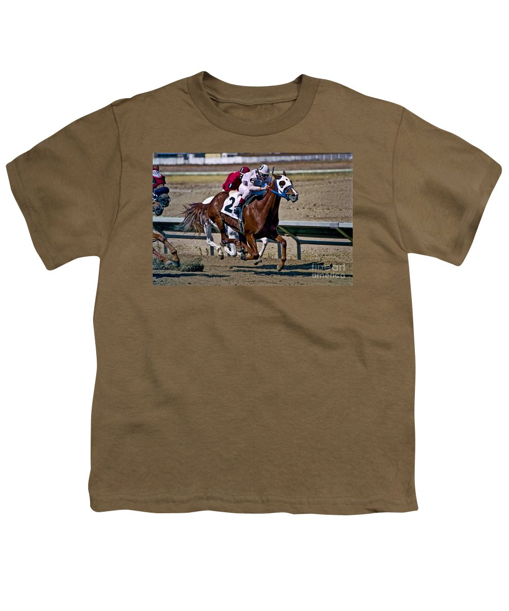 Racing Youth T-Shirt featuring the photograph Flying Hooves by Kathy McClure