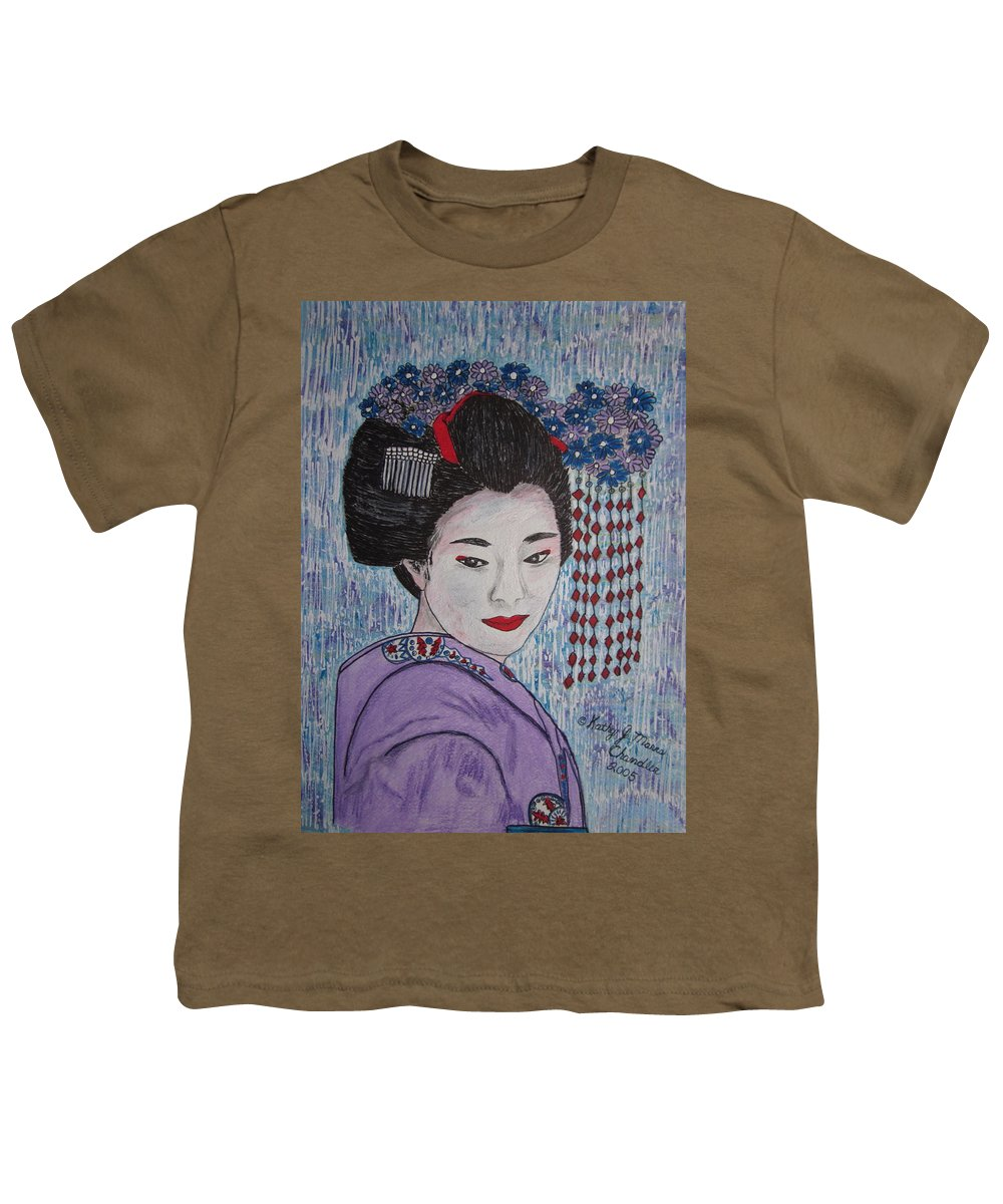 Oriental Youth T-Shirt featuring the painting Geisha Girl by Kathy Marrs Chandler