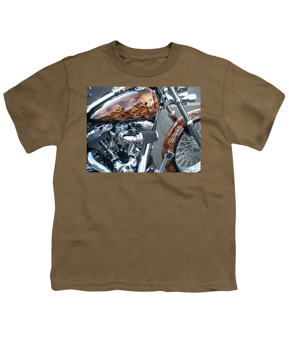 Motorcycles Youth T-Shirt featuring the photograph Harley Close-up Skull Flame by Anita Burgermeister