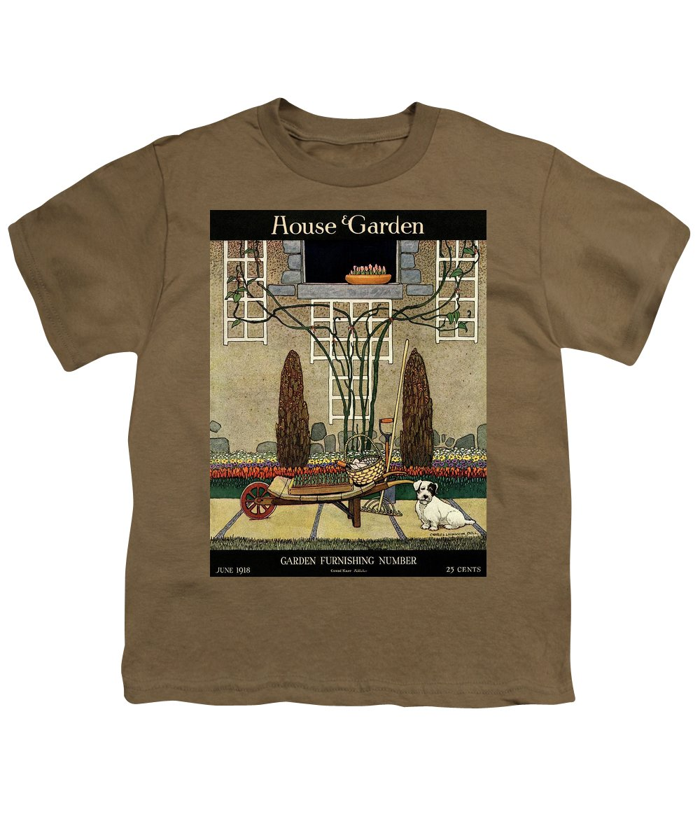 House And Garden Youth T-Shirt featuring the photograph House And Garden Garden Furnishing Number Cover by Charles Livingston Bull