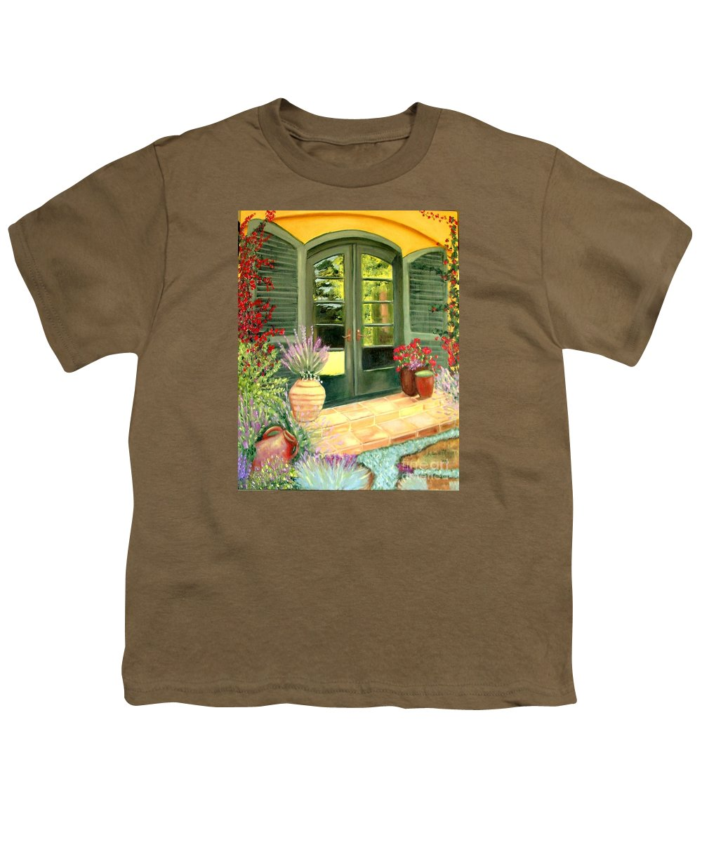 Shutters Youth T-Shirt featuring the painting Jill's Patio by Laurie Morgan
