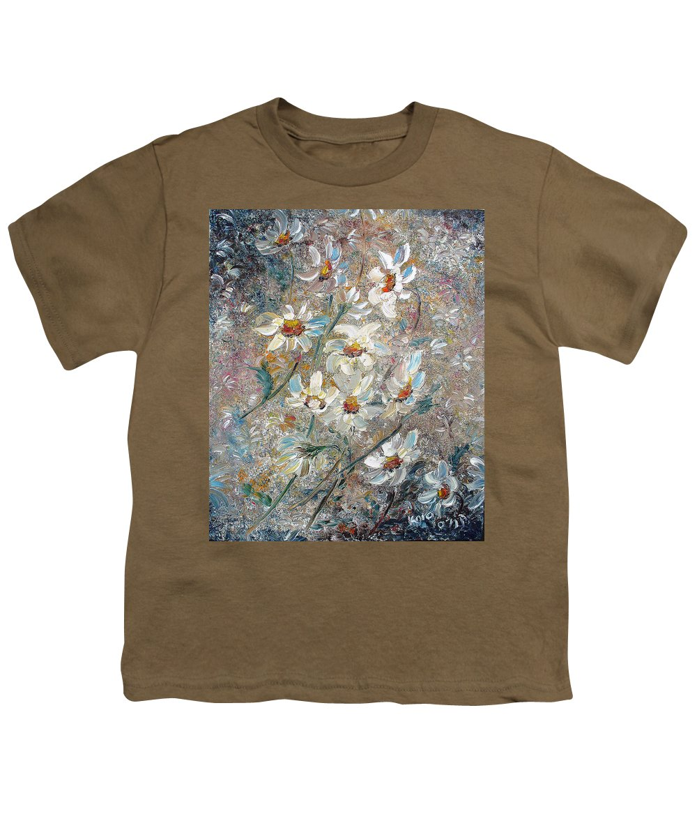 Daisies Painting Abstract Flower Painting Botanical Painting Bloom Greeting Card Painting Youth T-Shirt featuring the painting Just Dasies by Karin Dawn Kelshall- Best