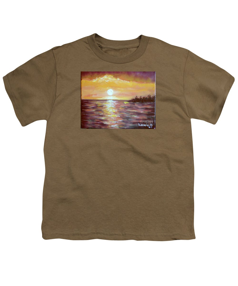 Sunset Youth T-Shirt featuring the painting Kona Sunset by Laurie Morgan