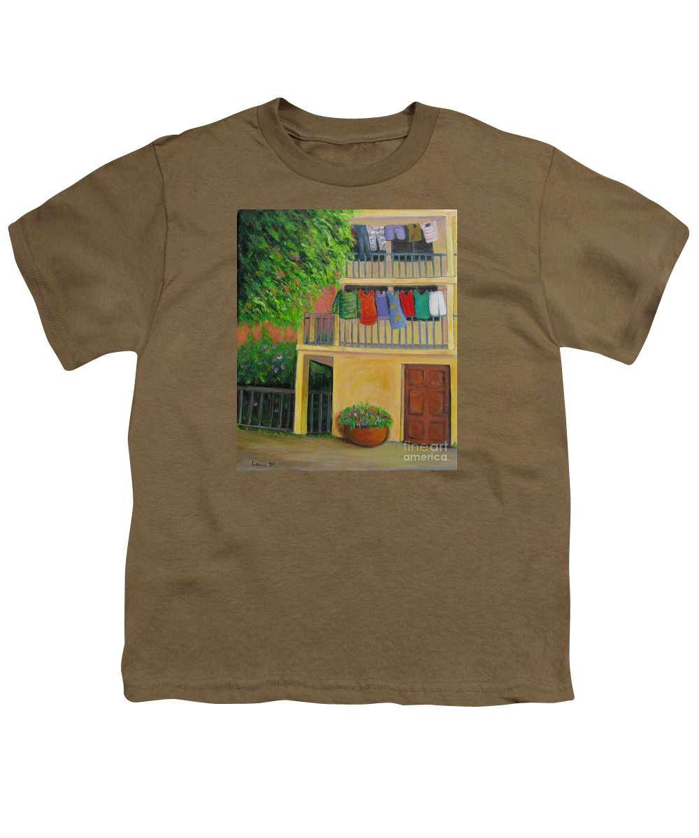 Laundry Youth T-Shirt featuring the painting Laundry Day by Laurie Morgan